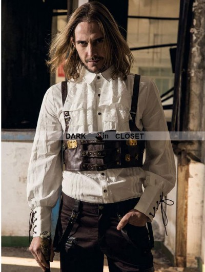 RQ-BL Coffee Steampunk Man Belt Vest