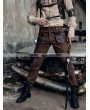 RQ-BL Coffee Industrial Steampunk Man Trousers with Pocket Bag