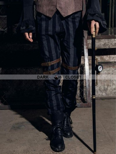 RQ-BL Coffee Industrial Stripe Steampunk Man Trousers
