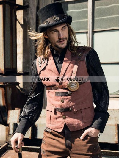 RQ-BL Brown Industrial Steampunk Man Vest