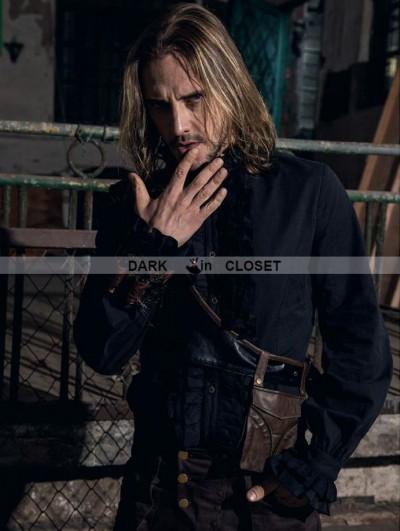 RQ-BL Black High Collar Ruffles Steampunk Blouse for Men
