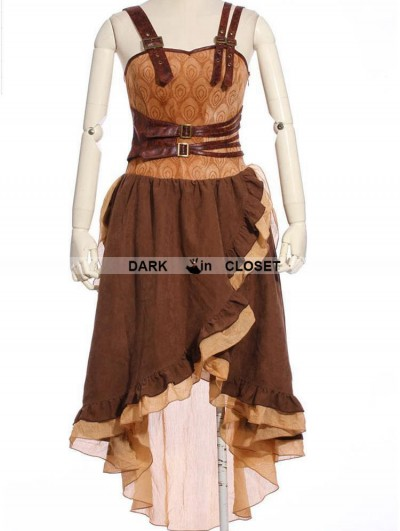 RQ-BL Brown Asymmetrical Hem Steampunk Dress