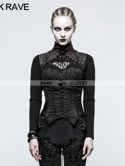 Punk Rave Black Steampunk Overbust Stripe Corset