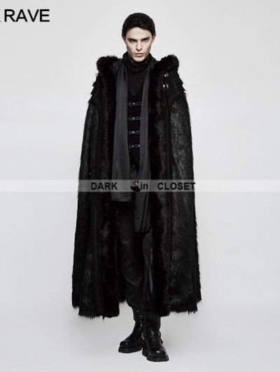 Punk Rave Black Gothic Witch Long Fur Cloak for Men