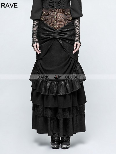 Punk Rave Black Steampunk Classical Half Skirt