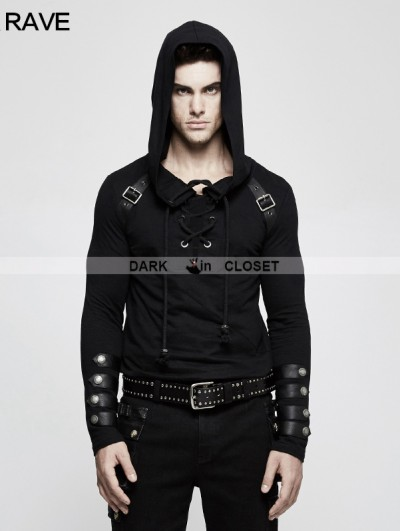 Punk Rave Black Gothic Punk Long Sleeve Hooded Sweater for Men