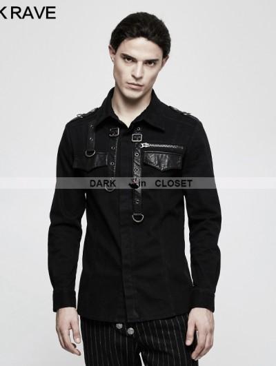 Punk Rave Black Gothic Punk Long Sleeve Shirt for Men
