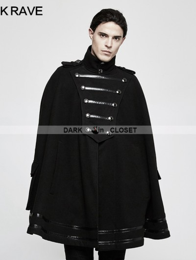 Punk Rave Black Gothic Military Uniform Worsted Cloak for Men