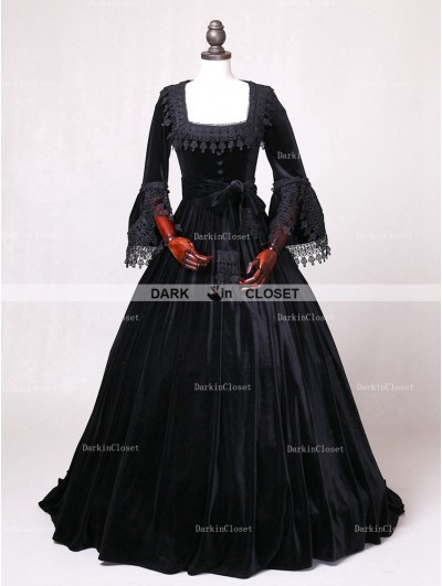 D-RoseBlooming Black Velvet Ball Gown Gothic Theatrical Victorian Gown