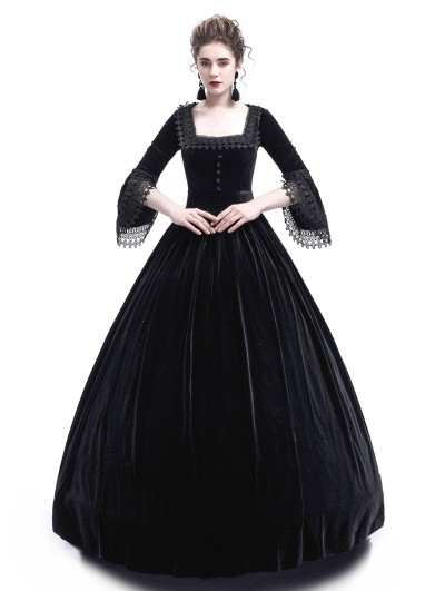 Rose Blooming Black Velvet Ball Gown Gothic Theatrical Victorian Gown