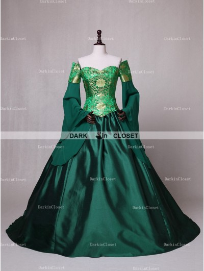 D-RoseBlooming Green Fancy Theatrical Victorian Dress