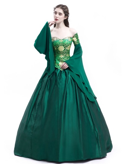 Rose Blooming Green Fancy Theatrical Victorian Dress