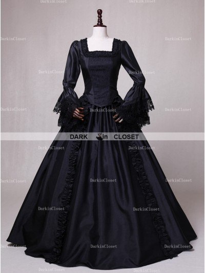 Rose Blooming Black Ball Gown Gothic Theatrical Victorian Gown