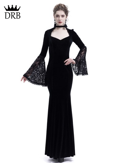 Rose Blooming Black Velvet Dark Queen Gothic Mermaid Victorian Dress