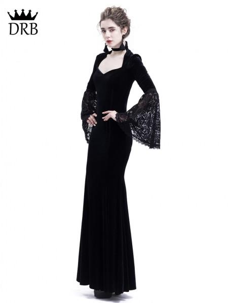 dc3d00ee3508b ... Rose Blooming Black Velvet Dark Queen Gothic Mermaid Victorian Dress ...