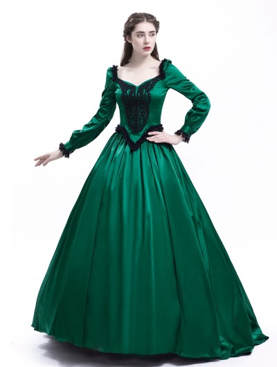 Rose Blooming Green Ball Princess Victorian Masquerade Dress