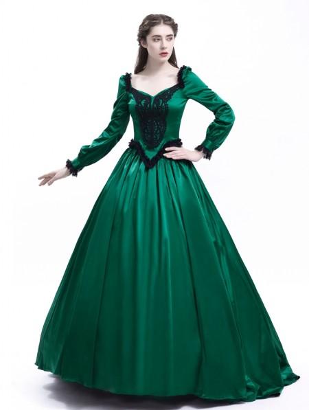 360268c02495 Rose Blooming Green Ball Princess Victorian Masquerade Dress ...