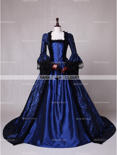 D-RoseBlooming Blue Ball Gown Victorian Costume Dress
