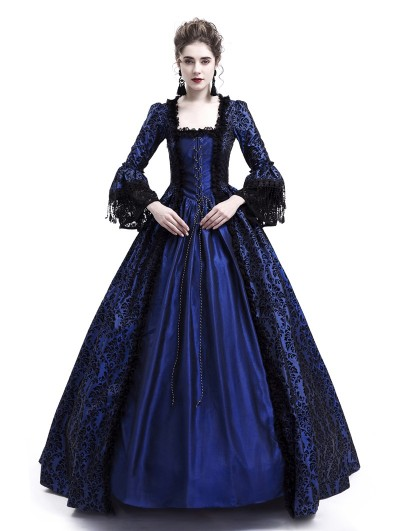 Rose Blooming Blue Ball Gown Victorian Costume Dress