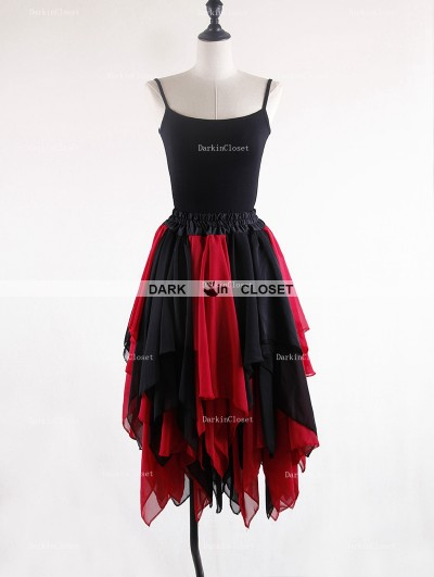 Rose Bloooming Black Red Gothic Chiffon Knee Length Skirt