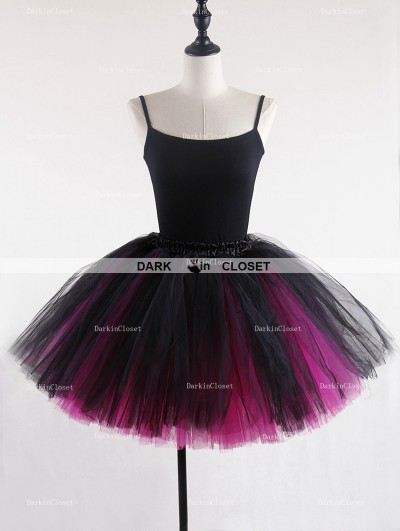 Rose Bloooming Blue Fuchsia Gothic Tulle Short Skirt