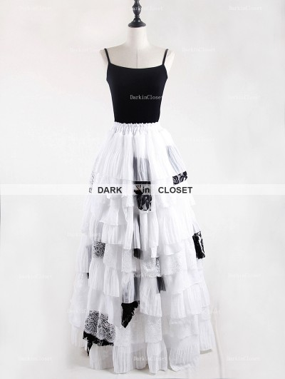 Rose Bloooming White Black Gothic Chiffon Long Skirt