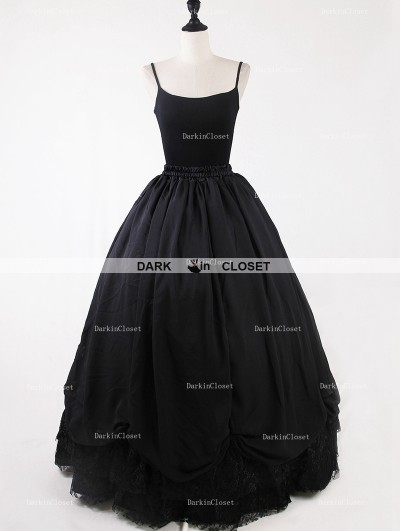 Rose Bloooming Black Gothic Tulle Long Skirt