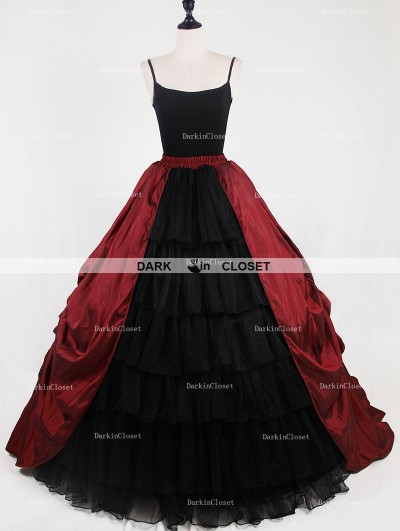 Rose Bloooming Red Black Gothic Satin Skirt