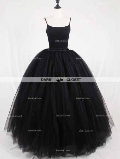 Rose Bloooming Black Gothic Tulle Long Skirt