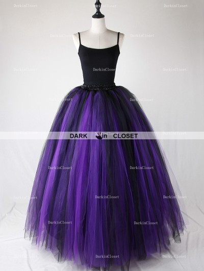 Rose Bloooming Purple Black Gothic Tulle Long Skirt