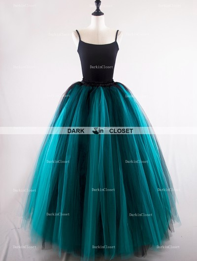 Rose Bloooming Black Teal Green Gothic Long Tulle Skirt