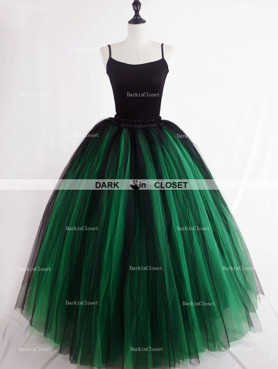 Rose Bloooming Green Black Gothic Tulle Long Skirt