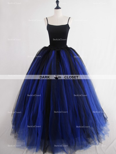 Rose Bloooming Blue Black Gothic Tulle Long Skirt