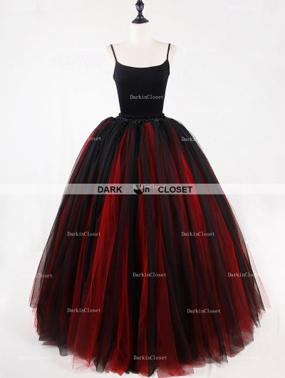 Rose Bloooming Red Black Gothic Tulle Long Skirt