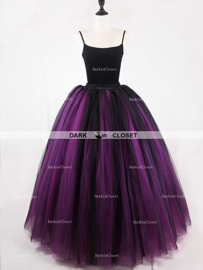Rose Bloooming Fuchsia Black Gothic Tulle Long Skirt