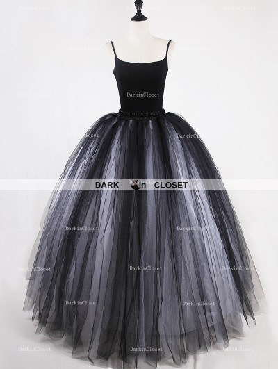 Rose Bloooming White Black Gothic Tulle Long Skirt