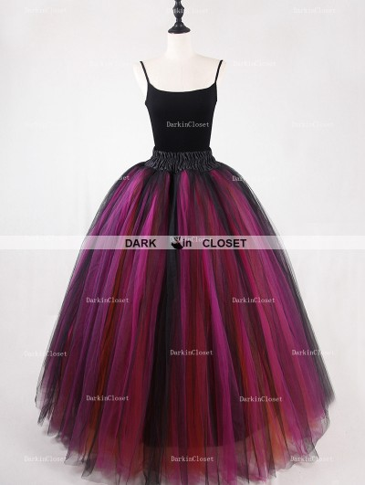 Rose Bloooming Black Multicolor Gothic Tulle Long Skirt