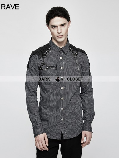 Punk Rave Grey Steampunk Striped Chain Shirt for Men