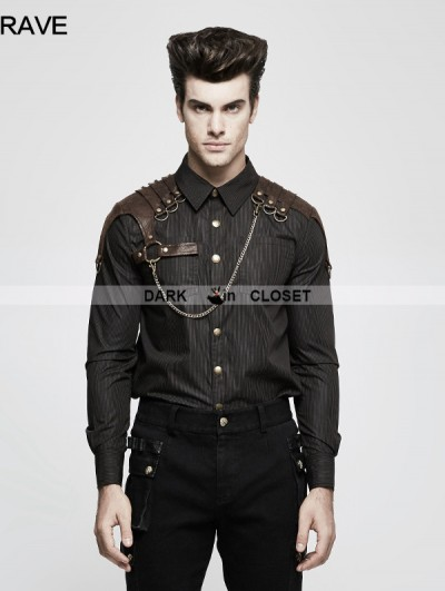 Punk Rave Brown Steampunk Striped Chain Shirt for Men