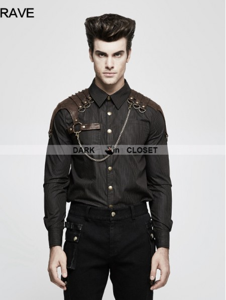 Punk Rave Brown Steampunk Striped Chain Shirt For Men