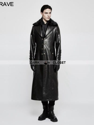 Punk Rave Black Gothic Military Uniform Long PU Leather Coat for Men
