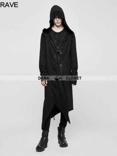 Punk Rave Black Gothic Dark Cardigan Hoodie Sweater for Men