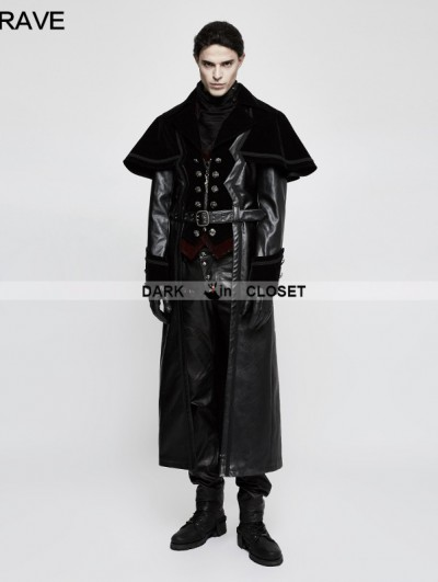 Punk Rave Black Gothic Cloak Long PU Leather Coat for Men