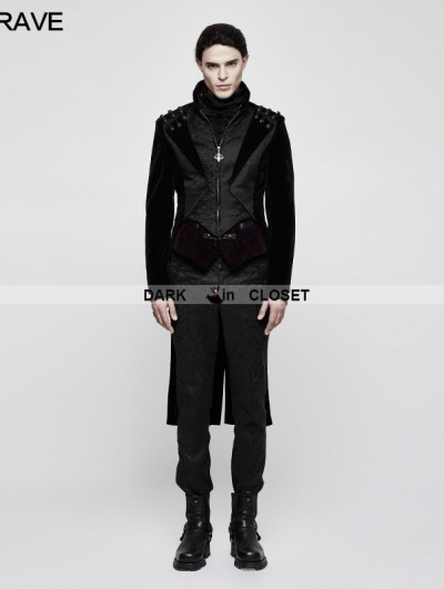 Punk Rave Black Gothic Vintage Gentleman High-Low Coat for Men