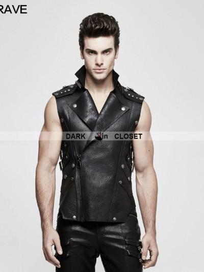 Punk Rave Black Gothic Heavy Punk Waistcoat for Men