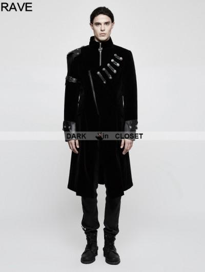 Punk Rave Black Gothic Handsome Punk Medium Length Coat for Men