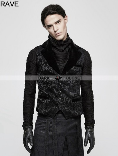 Punk Rave Black Gothic Vintage Jacquard Vest for Men