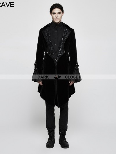 Punk Rave Black Gothic Gorgeous Medium Long Style Coat for Men