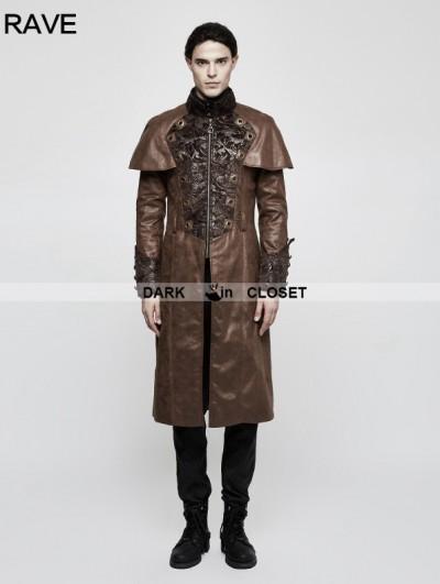 Punk Rave Brown Steampunk Vintage Style Cape Coat for Men