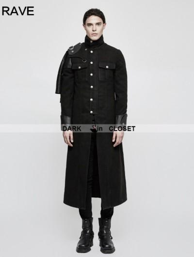 Punk Rave Black Gothic Punk Military Uniform Cape Jacket for Men